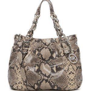 Michael Kors Colette Python Embossed Leather Bag